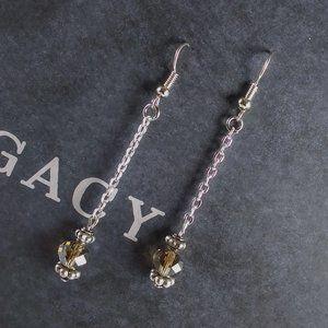 Champagne AB Crystal Chain Dangle Earrings